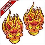 SkinoEu 2 x Autocollant Drôles Stickers Crâne de flamme pour Moto Fenêtre de Voiture Porte Casque de Scooter Vélo Tuning Idée Cadeau B 114
