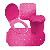 Crazy Gadget® Bathroom Accessories Sets in Fushcia Pink, Heather and Pale Blue. (Full Set, Fuchsia Pink)