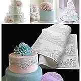 Silikonform zur Herstellung von Spitze aus Fondant zur Dekoration von Kuchen und Gebäck, Blumenmuster, zufällige Farbauswahl, 40 x 20 cm