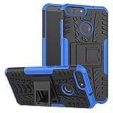 Funda Huawei P Smart, XINYUNEW 360 Grados Protective Caso Carcasa Case Cover Skin móviles telefonía Carcasas fundas Cubierta de lujo 2 in1 híbrido la cubierta Anti-Arañazos Anti-Choque de la PC pantalla de vidrio templado (1 Pack) para Huawei P Smart-Azul