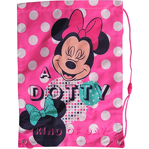 Image of Girl's Pink Dotty Disney Minnie Mouse Shoe, Swim & Gym Drawstring Bag