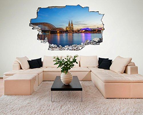 Köln Dom City 3D Look Wandtattoo 70 x 115 cm Wanddurchbruch Wandbild Sticker Aufkleber DesFoli © C094