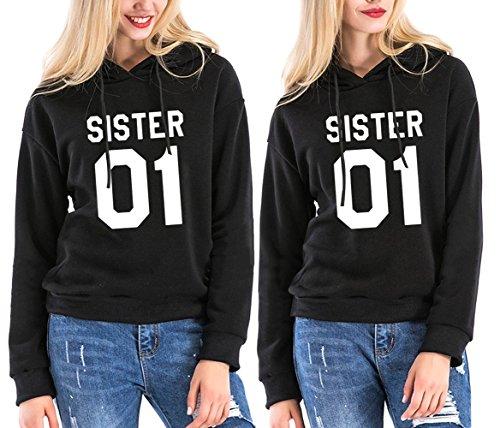 *SISTER Hoodie set Best Friends Beste Kapuzenpullis Freundin Pullover Schwarz Weiß 2 Stücke ZIWATER (Schwarz + Schwarz, M+XL)*