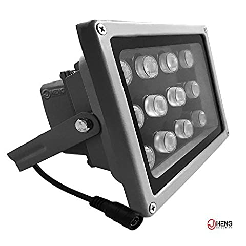 JC Infrared Illuminator 12-Led 90°Wide Angle High-Power IR Illuminator for 850nm IP Camera CCTV Analogue Security Surveillance