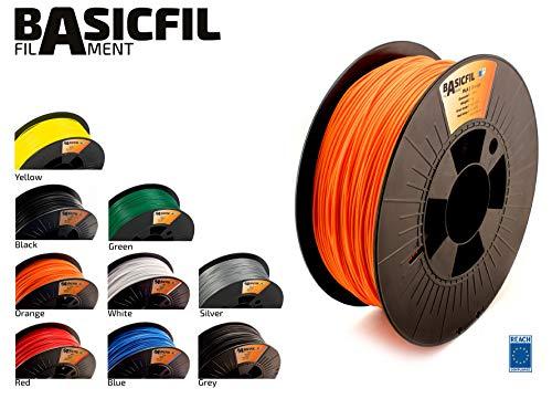 BASICFIL PLA 1.75mm, 1 kg filamento de impresión 3D, Naranja