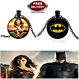 (2 Pcs SET) - BATMAN BLACK METAL & WONDER WOMAN BLACK METAL 3D GLASS DOME IMPORTED METAL PENDANTS WITH CHAIN. LADY HAWK DESIGNER SERIES 2018. ❤ ALSO CHECK FOR LATEST ARRIVALS - NOW ON SALE IN AMAZON - RINGS, KEYCHAINS, NECKLACE, BRACELET &