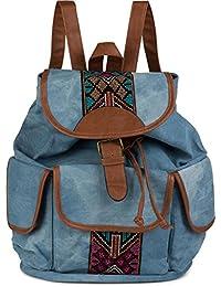 styleBREAKER Jeans Rucksack Handtasche mit trendigen Ethno Stickereien, Boho Style, Tasche, Unisex 02012152