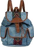 styleBREAKER Jeans Rucksack Handtasche mit trendigen Ethno Stickereien, Boho Style, Tasche, Unisex 02012152, Farbe:Hellblau