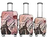 Polycarbonat Hartschale Koffer 2060 Trolley Reisekoffer Reisekofferset Beutycase 3er oder 4er Set in 12 Motiven (Tower)
