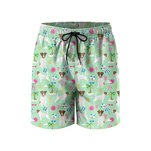 Patterned Jack Russell Terrier Palm Tree Beach Dog Fashion Mens Home Pants Shorts for Beach,Size:Medium (Russell Shorts Boys)