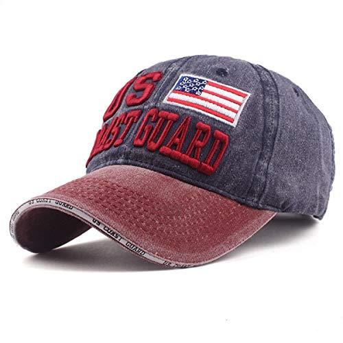 Sporty Baseballcap U.S. Coast Vintage Style Used Washed Look Retro Outdoor Kappe Mütze Cap Schirmmütze Basecap verstellbar (rot/Navy)