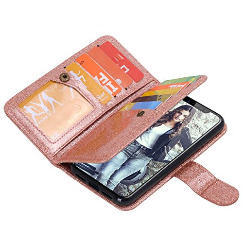 Custodia iPhone X,Custodia iPhone 10,iPhone X Case Snewill PU Leather Glitter Sparkle Bling 9 Card Slots Holder Flip Wallet Case with Magnetic Detachable Slim Hard Case for Apple iPhone X - Shiny Rose Shiny Rose Gold