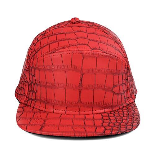 sdssup Krokodilleder Leichter Körper Flache Kappe Baseballmütze männlich und weiblich Hut rot einstellbar