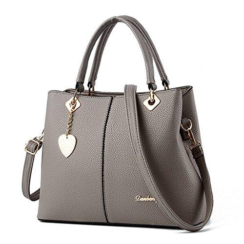 Damen Handtaschen Schultertasche Messenger Bag PU Leder Handtaschen Tragetaschen Silber