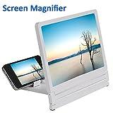 """Agrandisseur d'Écran Loupe 3D Portable Pliage Elargie Verre Amplificateur Vidéo Film HD Support Table Pliable pour Téléphones Écran 2.5"""" - 6.0"""" Blanc"""