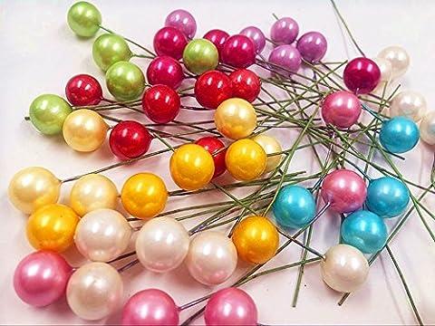 20pcs artificielle miniature Plastique Petite perle de baies Couronne de mariage de décoration, Plastique, violet, 1.3 cm