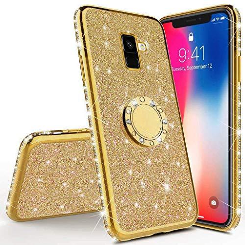 Herbests Kompatibel mit Samsung Galaxy A6 2018 Glitzer Hülle Kristall Bling Diamant Schutzhülle Strass Glänzend Überzug Silikon Handyhülle Durchsichtig Handytasche mit Ring Ständer Halter,Gold -