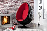 Casa-Padrino Designer Egg Chair Armchair Black/Red - Lounge Club Chairs