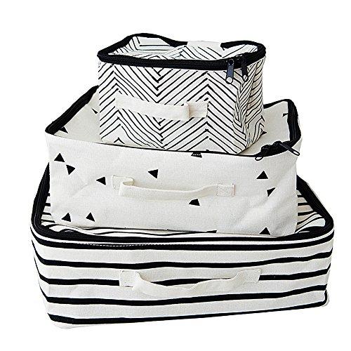 Inwagui Baumwolle Packwürfel Kofferorganizer Wasserdichte Kulturtasche Gepäck Beutel Kleidertaschen Verpackungs Würfel für Reisen - 3er-Set (Baumwolle-gepäck-set)