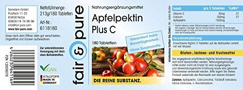 Apfelpektin Tabletten mit Vitamin C & Calcium – vegan – natürlicher Ballaststoff – 180 Tabletten – 2-Monatsvorrat – ohne Magnesiumstearat