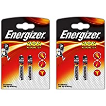 Energizer AAAA / E96 / LR61 pilas alcalinas, 2 paquetes x 2 unidades, largo duracion (fecha de caducidad marcado)