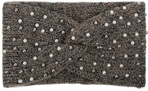 styleBREAKER Damen Strick Stirnband mit Perlen, Metallic Garn und Twist Knoten, warmes Winter Haarband, Headband 04026029, Farbe:Braun-Schwarz -