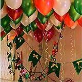 PuTwo Luftballons 100 stk Ø ca. 27cm Rot Grün Weiß Party Dekoration für Hochzeit Geburtstag –Rot/Grün/Weiß