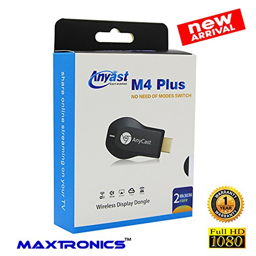 100% New Model M4 Plus MAXTRONICS™ AnyCast M4 Plus TV HDMI Wireless Display Dongle Mobile to TV FULL HD for Android phone iPhone windows Phone iPad Laptop Tablet Mirracast Chromecast TV stick  available at amazon for Rs.899