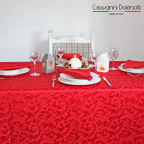 Giovanni dolcinotti christmas collection | tovaglia natalizia jacquard (rosso, 140x280 cm) 12 posti