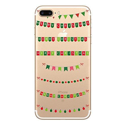 Yokata 3x Cover per iPhone 7 Plus Custodia Silicone Trasparenti Cristallo Crystal Clear Natale Regalo Christmas Gift Disegni Case Originale Fantasia Divertenti Caso TPU Morbido Ultra Slim Protettiva S Bambini bandierina cervi