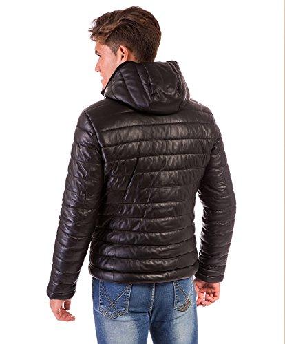 Doudoune en cuir homme noir Made in Italy avec capuch