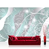 Vlies Fototapete 152.5x104cm PREMIUM PLUS Wand Foto Tapete Wand Bild Vliestapete - Ornamente Tapete Blätter Ranke Schnörkel Tribal petrol - no. 2477