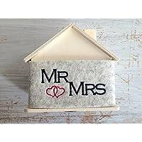 Hochzeit Geschenk: Spardose Filz bestickt MR & MRS