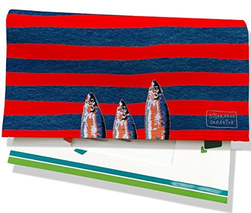 Porte-chéquier femme Motif Sardines multicolores fond marinière bleu marine et rouge Réf. 4020