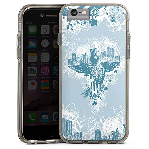 Apple iPhone X Bumper Hülle Bumper Case Glitzer Hülle Stadt City Freiheit Bumper Case transparent grau