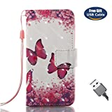 Aireratze iPod Touch 6 Handyhülle, Touch 5 Hülle PU Glatte Glitter 3D Oberfläche helle Farbe niedlich Fall für Kinder in Schmetterling Hülle für iPod Touch 6/Touch 5 (USB Cable)