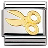 Nomination Composable Classic Daily Life Big Scissors Stainless Steel and 18K Gold