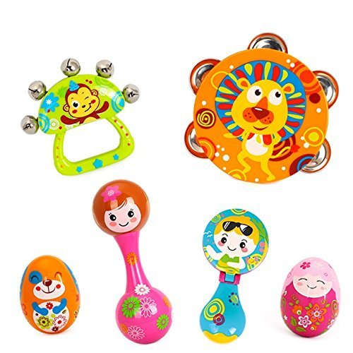 Baby Station Musical Instruments Toy Set Timbrel Maracas Sand Eggs Shaker Hand Bells Bell Drum Baby Rattle (Set of 6)