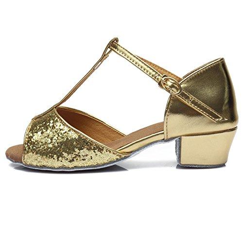 SWDZM Donna Scarpe da ballo/Scarpe da ballo latino standard Raso Ballroom Model-IT-205 Oro