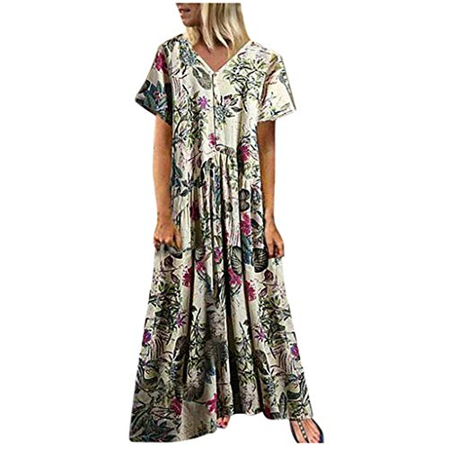 12b9424a7df28c JYJM Robe Maxi Longue Femme Ete Chic Robe de Soiree Robe de Plage Robe  Vintage Sexy Boho Grande Taille Floral Dentelle Dos Nu Col V Cocktail Party  ...