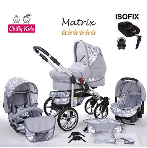 Chilly Kids Matrix II Kinderwagen Safety-Mega-Set (Winterfußsack, Sonnenschirm, Autositz & ISOFIX Basis, Regenschutz, Moskitonetz, Schwenkräder) 64 Graphit & Graphit Blumen