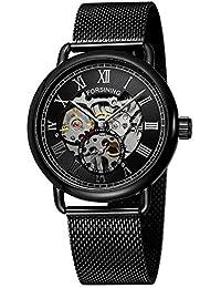 FORSINING Top Brand Luxury Golden Black Mechanical Watch Men Ultra Thin  Mesh Strap Skeleton Dial 66d86ff77c1