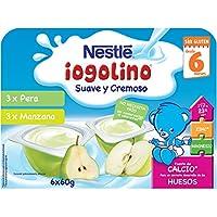 Nestlé Iogolino Postre Lácteo Suave y Cremoso con Sabor Manzana y Pera a Partir de 6 Meses - 6 Unidades