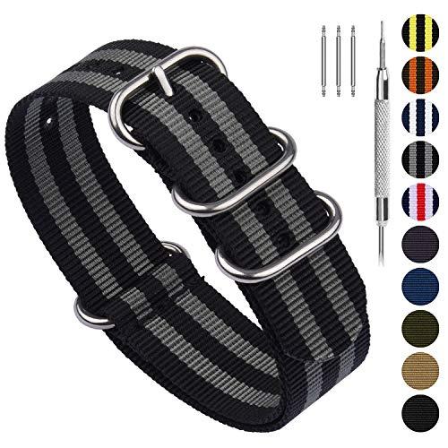 Fullmosa Nylon Uhrenarmband 24mm in 10 Farben, Zulu Serie Ersatzband mit verstellbarem Edelstahl Metall Schließe für Herren&Damen,Schwarz + Hellgrau 24mm