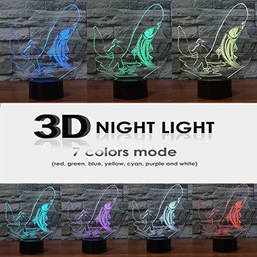 HeXie LED Nacht Lichter 3D Illusion Nachttisch Lampe 7 Farben ändern Schlafen Beleuchtung Smart Touch Button Nette Geschenk Warming präsentieren kreative Dekoration ideale Kunst Handwerk (Angeln) - 3