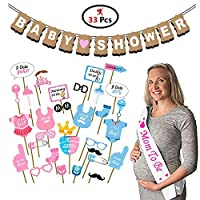 Party Propz Baby Shower Decoration Combo Set Of 33 Pcs (1 Sash,1 Banner and 31 Pcs Photo Booth Props)