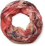 styleBREAKER Ethno Batik Muster Loop Schlauchschal, Crash and Crinkle, seidig leicht, Damen 01016087, Farbe:Rot-Rosa-Koralle