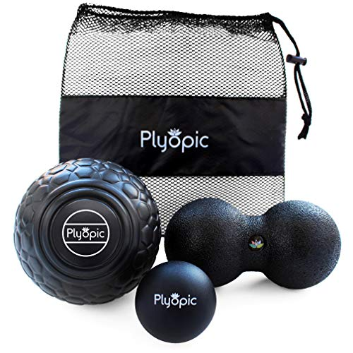be5193004c14 Plyopic Deep Tissue Massage Ball Set - Includes Rubber, Peanut and Foam  Roller Massager Balls | For Myofascial Release, Trigger Point Relief and ...