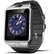 Reloj Inteligente, CulturesIn Pulsera con Pantalla Táctil Bluetooth con Cámara/Ranura para Tarjeta SIM/Análisis de Podómetro para Android (Funciones Completas) y para IOS (Funciones Parciales) (negro)