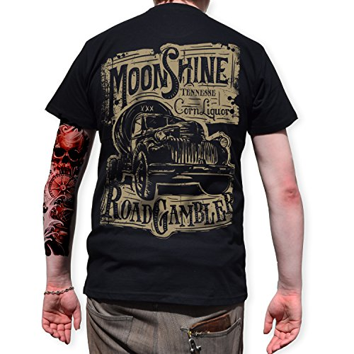 ROAD RODEO T-Shirt Back Print, Rock'n'Roll, Pick Up, Schnaps, ()